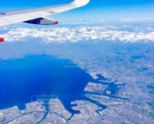雪飛行機から見える地上の写真・画像素材[3342271]
