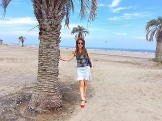 浜辺のヤシの木の隣に立っている女性の写真・画像素材[3443451]