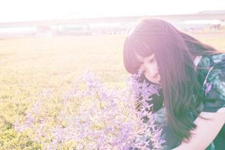 花,カメラ,夕日,夕焼け,女の子,人物,ポートレート