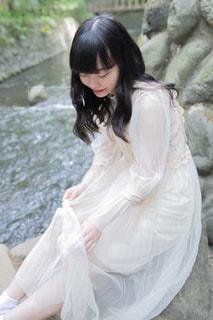 滝と私の写真・画像素材[1461500]