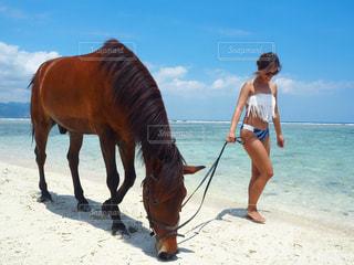 ビーチに立っている人の写真・画像素材[1033042]