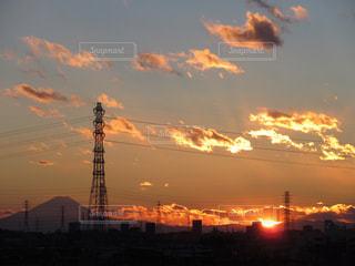 風景,空,富士山,太陽,雲,夕方,鉄塔,影,光,夕陽,輝き