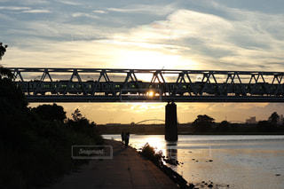 空,夕日,電車,夕焼け,夕暮れ,鉄橋,鉄道,多摩川
