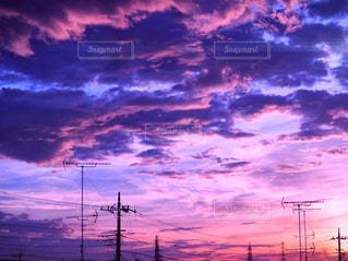 紫,綺麗な夕焼け