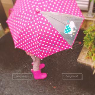 傘をさした女の子の写真・画像素材[1074258]