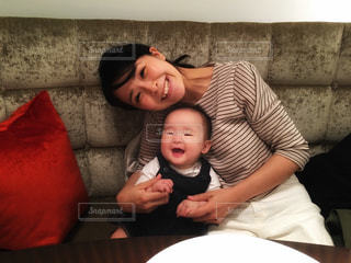 笑顔,赤ちゃん,母