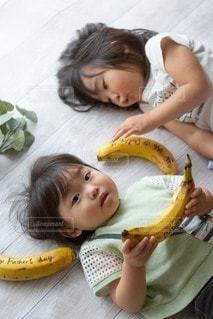 子ども,赤ちゃん,幼児,姉妹,バナナ