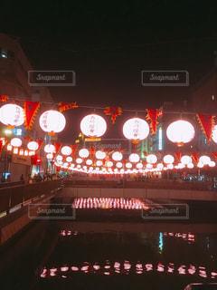 夜,夜景,ピンク,光,旅行,祭,長崎,灯籠,川面