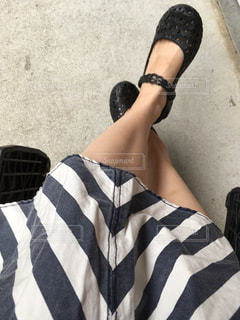 ストライプのスカートはいて君。まつの写真・画像素材[1284848]