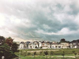 自然,風景,空,公園,建物,秋,雲,曇り,景色,家,住宅,町,秋空