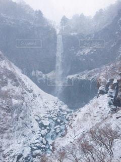 自然,冬,雪,屋外,国内,白,滝,旅行,栃木,華厳の滝,銀世界