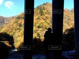 背景の山を持つウィンドウの前に立っている人の写真・画像素材[1407028]