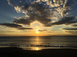 海,空,夕日,太陽,ビーチ,雲,夕暮れ,海岸,sea,千葉県,新舞子