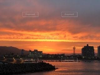 海,空,夕日,綺麗,オレンジ