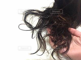 濡れた髪を乾かす手の写真・画像素材[1870520]