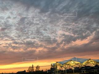 秋,夕焼け,うろこ雲,オレンジ色,秋空
