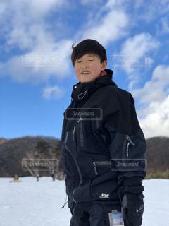 男性,子ども,風景,アウトドア,空,スポーツ,雪,屋外,山,人物,人,ゲレンデ,レジャー