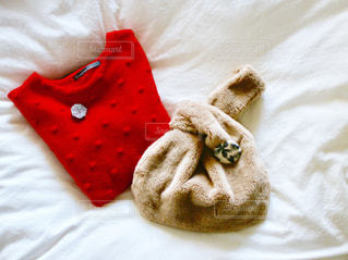 赤い毛布を身に着けている布の写真・画像素材[892473]