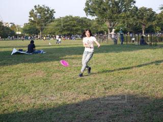公園でフリスビーの写真・画像素材[1170806]
