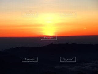 空,夕日,富士山,山小屋