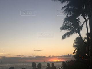 海,夕日,青,ハワイ,夕陽,夏休み,思い出,aloha