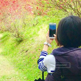 スマホに写る青空の写真・画像素材[1121393]