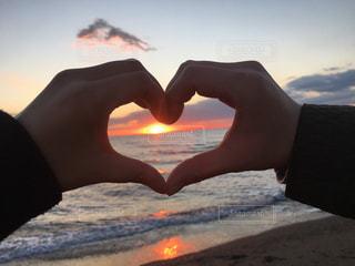 海,夕日,綺麗,夕焼け,田舎,鮮やか,女の子,ハート,フォトジェニック
