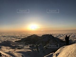 空,夕日,雲海,立山