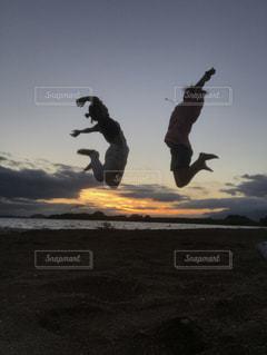 海,空,夕日,屋外,ジャンプ,猪苗代湖