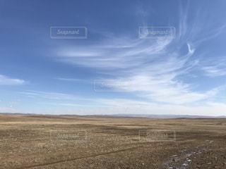 近くに乾いた草のフィールドのの写真・画像素材[1103774]