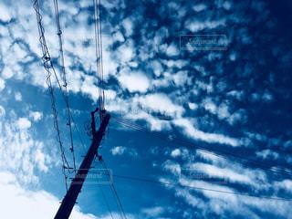 空,屋外,雲,電柱,青い,秋空