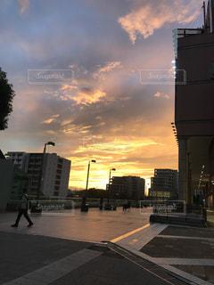 自然,屋外,眩しい,夕陽,6月,街中