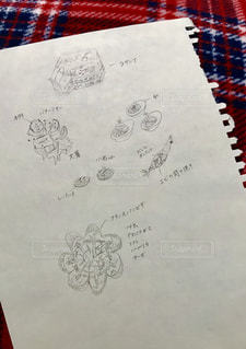 文字,絵,料理,鉛筆,紙,レシピ,考える,字