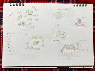 文字,絵,料理,フレンチ,鉛筆,色,手書き,紙,レシピ,考える,字
