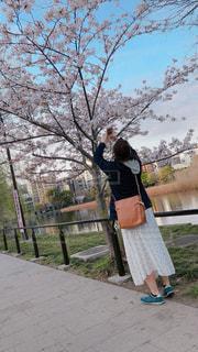 公園,桜,屋外,晴れ,女,撮影,水玉,春コーデ