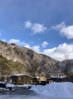 雪,山,朝,オートキャンプ場