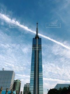 空,建物,屋外,雲,青,タワー,飛行機雲,福岡,福岡タワー,秋空,日中,空の日
