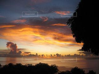 海,空,夕日,太陽,雲,夕暮れ,オレンジ,カリブ海,セントルシア