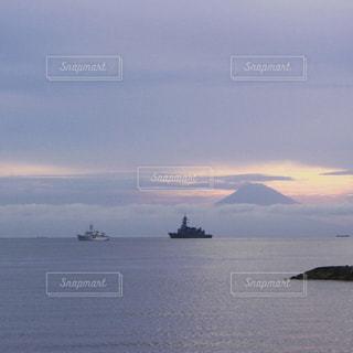 海,空,夕日,富士山,夕焼け,船,夕陽,千葉,内房