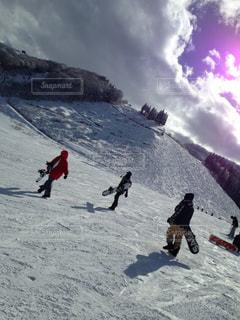 自然,空,雪,屋外,山,仲良し,白い,スノボー,グループ,新潟,スキー場,ホワイト
