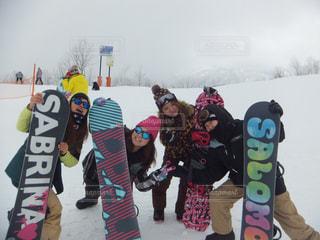 冬,雪,女,人物,ゴーグル,スノボー,グループ,新潟,スキー場,斜面,ウィンタースポーツ