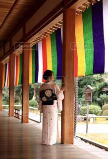 女性,風景,屋内,神社,床,人物,背中,着物,人,後姿,天井,後ろ