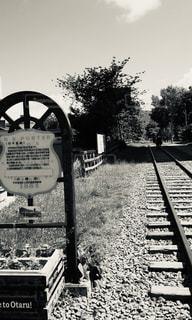 空,屋外,線路,北海道,標識,レトロ,樹木,フィルム,フィルム写真,フィルムフォト,黒と白