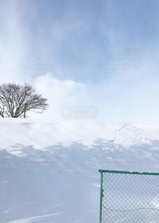 空と雪面が混ざり合う出入り口の写真・画像素材[1673927]