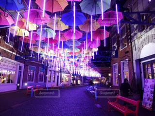 夜,夜景,傘,光,イルミネーション,道,ハウステンボス