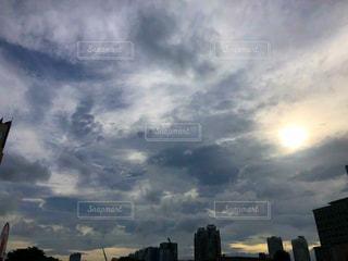 空,夕日,雲,夕焼け,都会,くもり