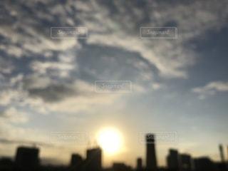 空,秋,夕日,太陽,うろこ雲,みなとみらい,Yokohama,秋空