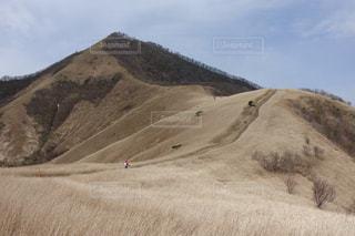 山の上を走る男の写真・画像素材[2262295]