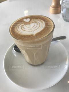 カフェ,白,ハート,朝,cafe,ラテアート,ラテ,カフェタイム