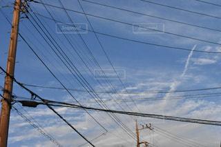 空と電柱、電線の写真・画像素材[1122047]